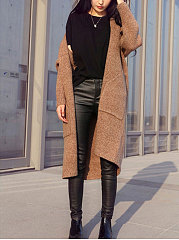 Patch Pocket  Plain  Long Sleeve Cardigans