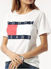 Summer  Polyester  Women  Round Neck  Letters Short Sleeve T-Shirts