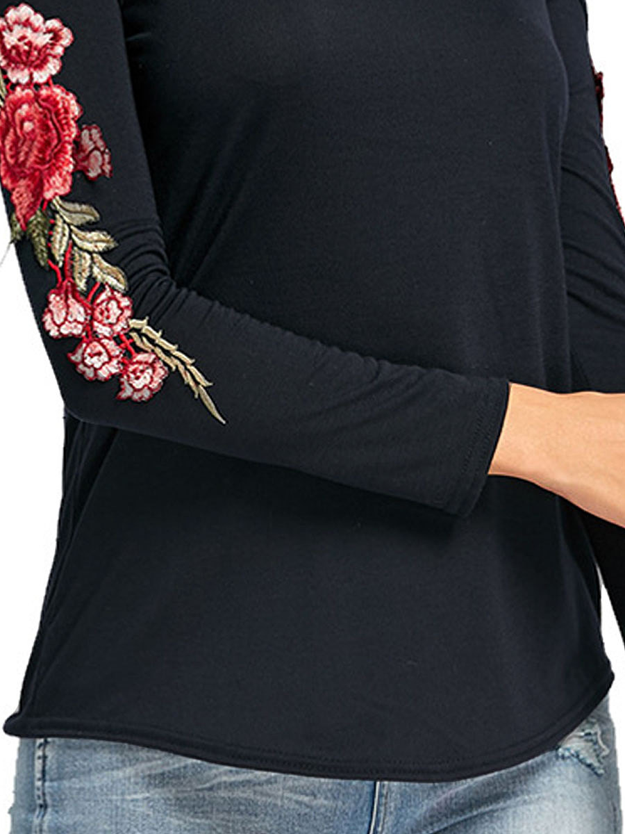 Spring Summer  Polyester  Women  Open Shoulder  Embroidery Long Sleeve T-Shirts