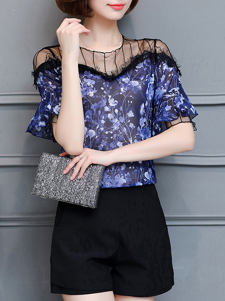 Patchwork See-Through Printed Blouse