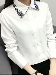 Autumn Spring  Cotton  Women  Turn Down Collar  Single Breasted  Embroidery Plain  Long Sleeve Blouses