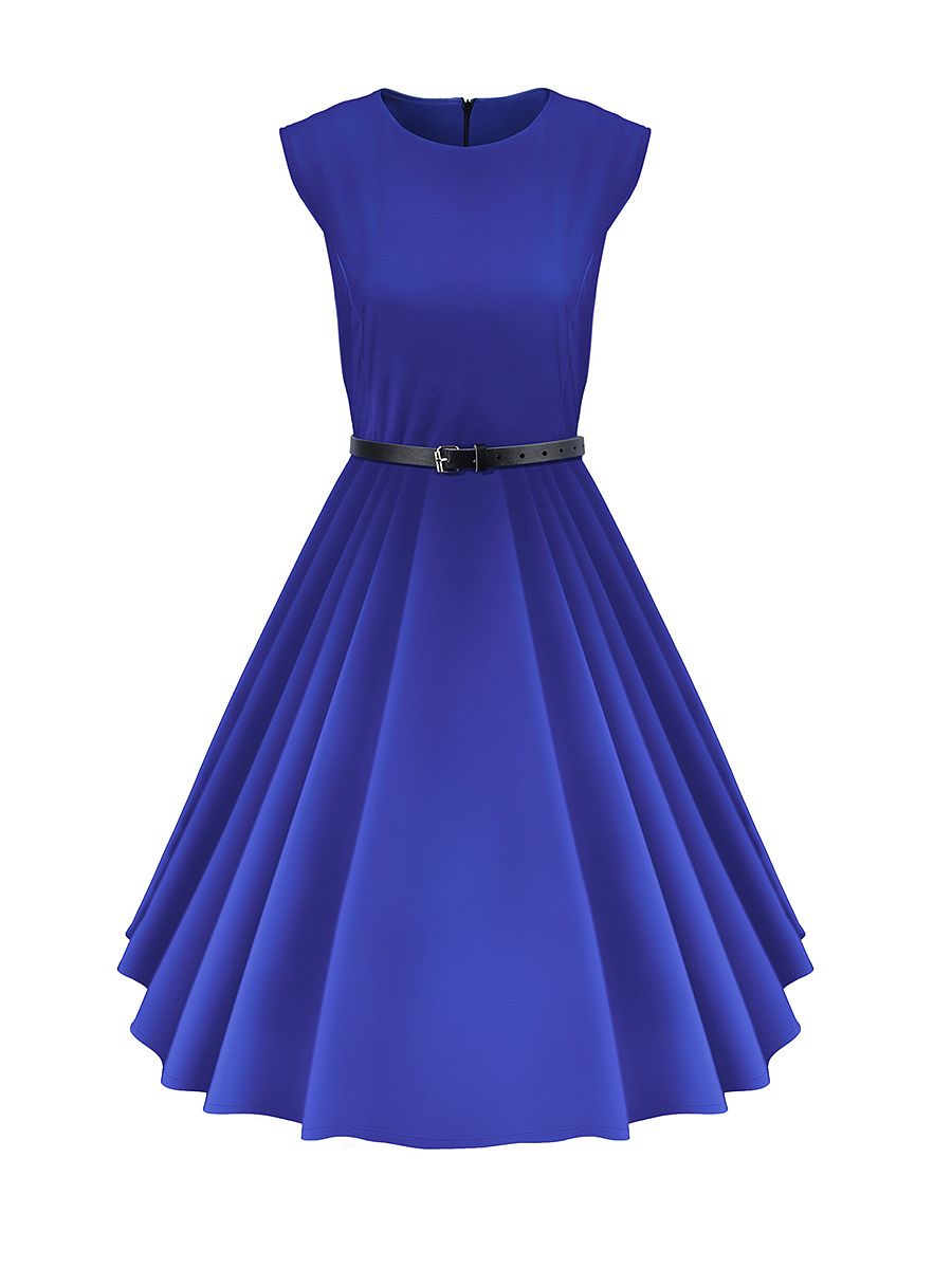 Round Neck Belt Solid Skater Dress In Blue