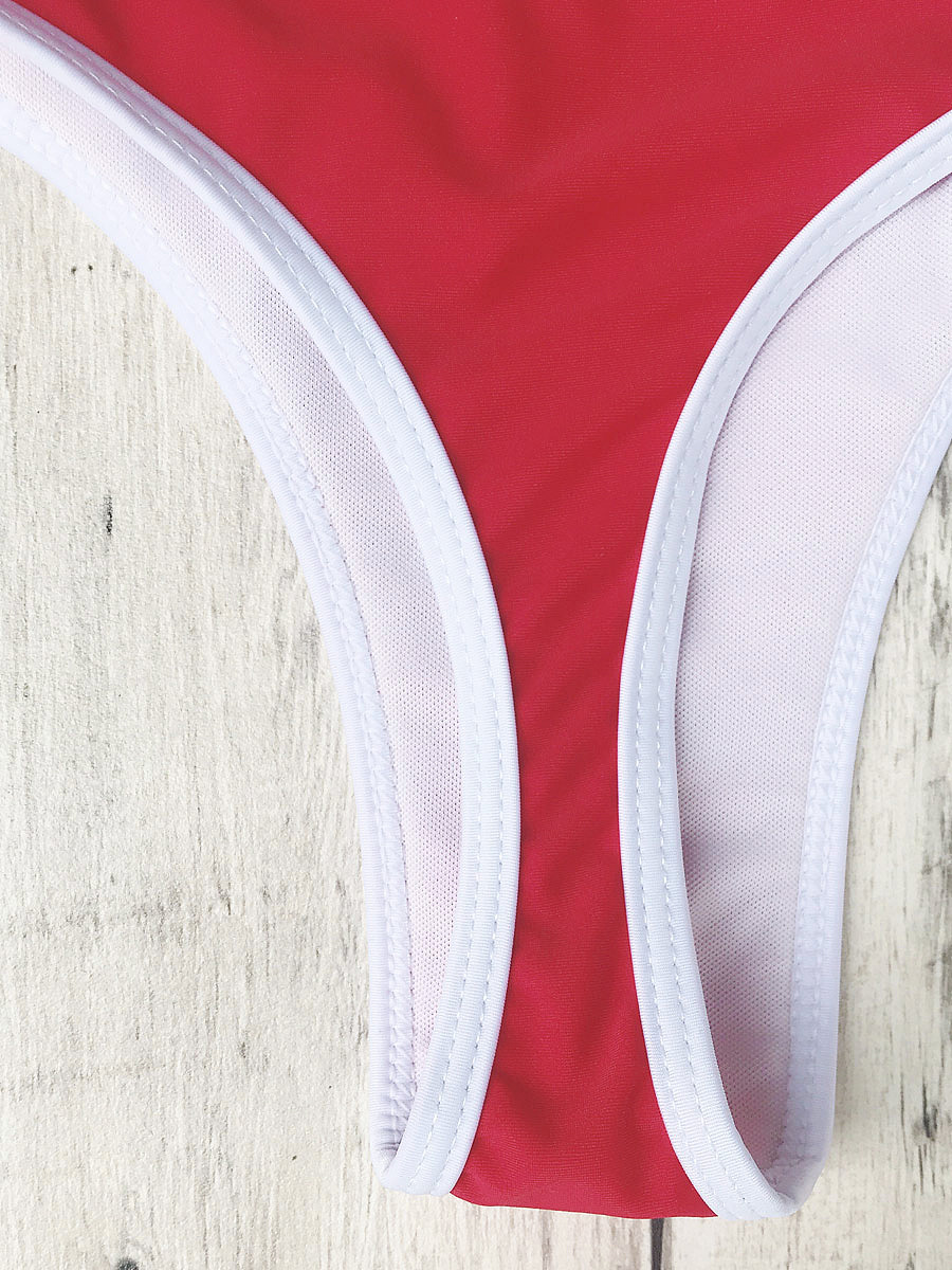Contrast Piping Padded Bralette Bikini Set