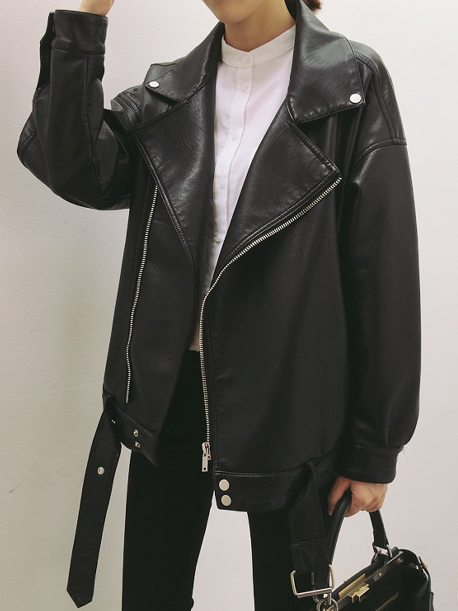 Fold-Over Collar Zips Belt Belt Loops Plain Long Sleeve Jacket