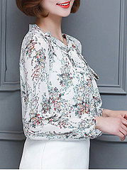 Autumn Spring  Blend  Women  Tie Collar  Bowknot  Floral Printed  Long Sleeve Blouses