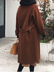 Fold-Over Collar  Single Breasted  Belt  Plain  Long Sleeve Coats