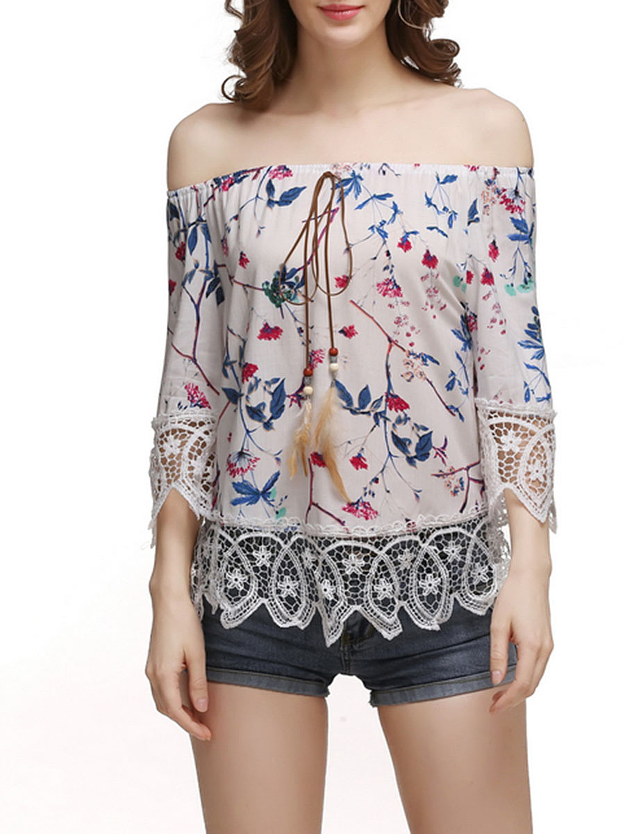 Decorative Lace Off Shoulder Printed Short Sleeve T-Shirt