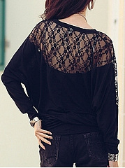 Autumn Spring  Cotton  Women  Decorative Lace  Plain Long Sleeve T-Shirts