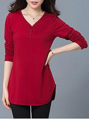 Designed-V-Neck-Side-Slit-Plain-Plus-Size-T-Shirt