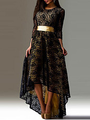 Round Neck  Belt  Lace Maxi Dress