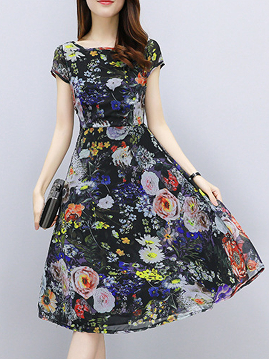 Floral Printed Chiffon Skater Dress