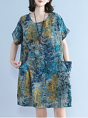 Spring Summer  Polyester  Round Neck  Patch Pocket  Printed Shift Dress