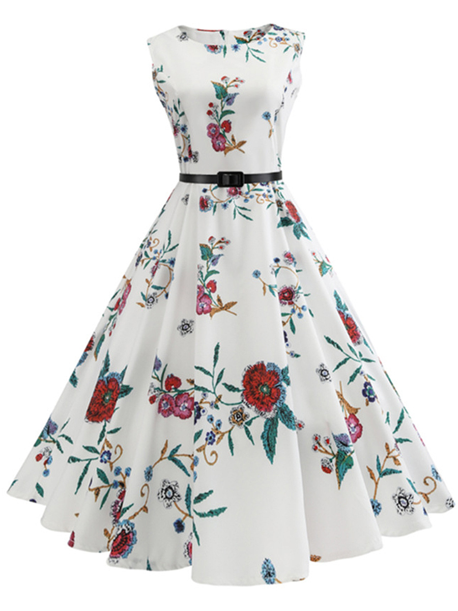 Chic Floral Printed Round Neck Belt Skater Dress
