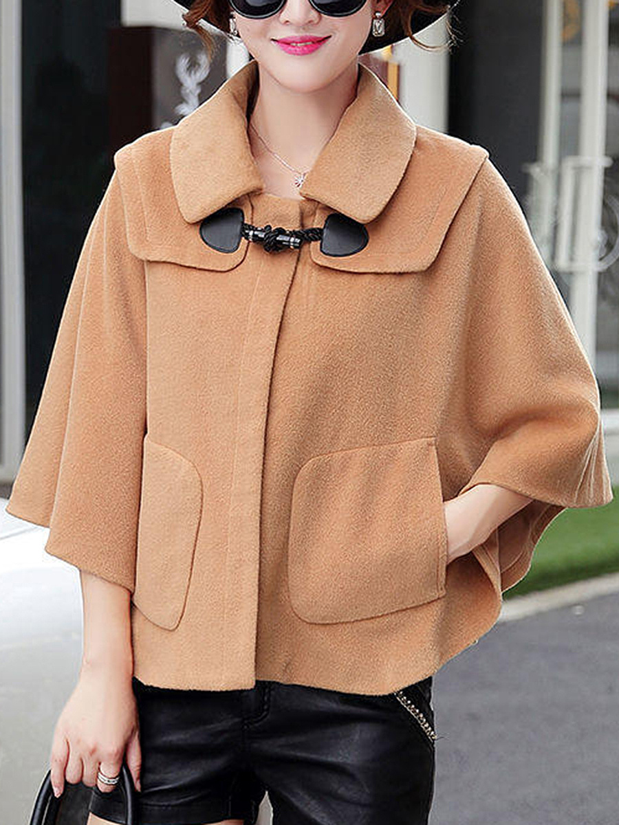 Solid Cape Sleeve Patch Pocket Woolen Coat