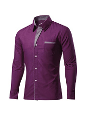 Office Turn Down Collar Single Breasted Men Shirt