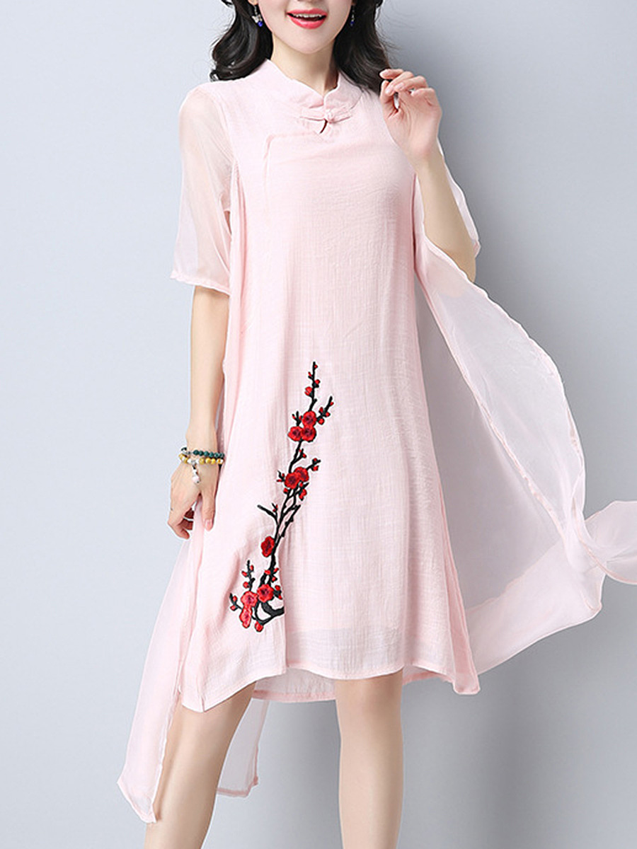 Band Collar  Embroidery Hollow Out Midi Shift Dress