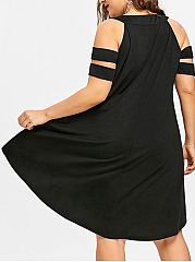 Asymmetric Hem  Plain Plus Size Midi & Maxi Dress