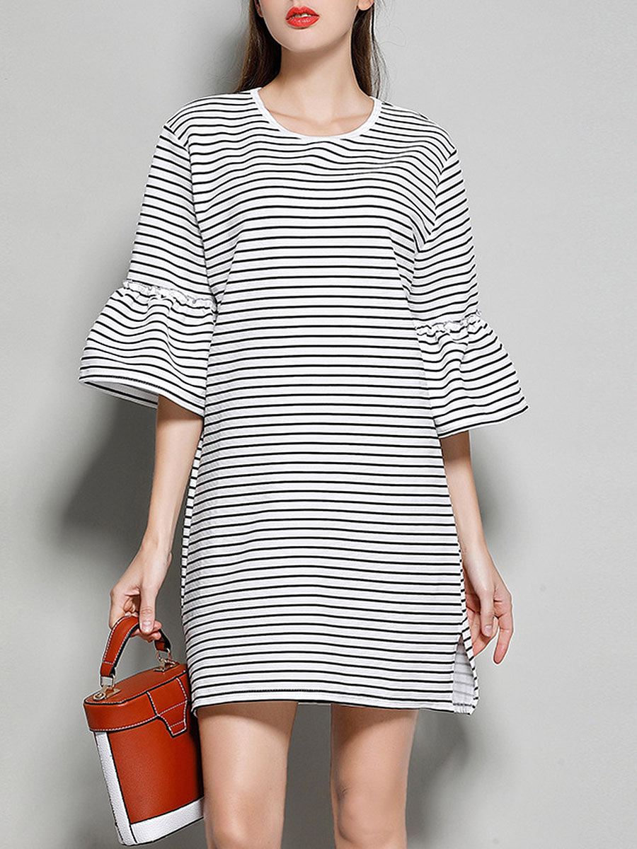 Striped Bell Sleeve Round Neck Shift Dress