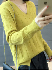 V-Neck  Plain Striped  Long Sleeve Sweaters Pullover