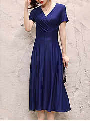 Surplice  Plain Maxi Dress