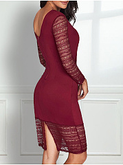 Round Neck  Embroidery Lace Plain Bodycon Dress