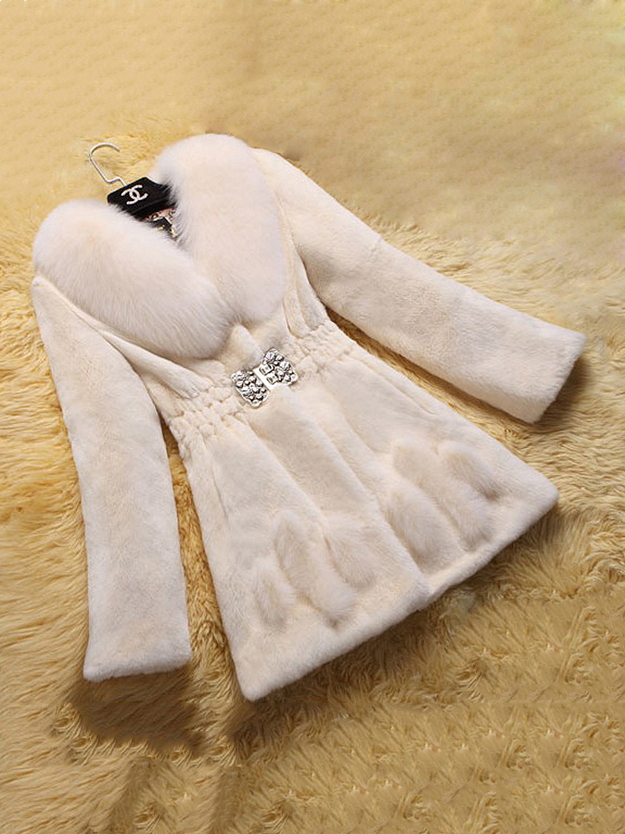 Lapel Elastic Waist Fluffy Faux Fur Plain Coat