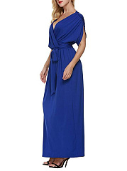 Surplice  Belt  Plain Maxi Dress