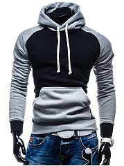 Kangaroo-Pocket-Color-Block-Raglan-Sleeve-Men-Hoodie