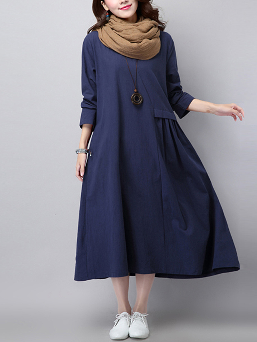 Round Neck Plain Long Sleeve Maxi Dress