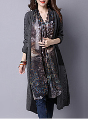 Lapel  Decorative Lace Patchwork Longline Coat