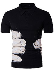 Men Polo Collar Finger Printed T-Shirt