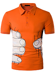 Polo Collar  Printed  Short Sleeve Short Sleeves T-Shirts