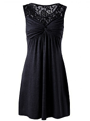 Round Neck  Patchwork  Lace Plain Skater Dress