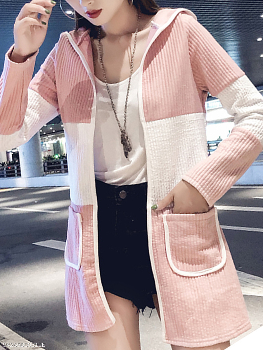 Hooded  Slit Pocket  Color Block  Long Sleeve Trench Coats