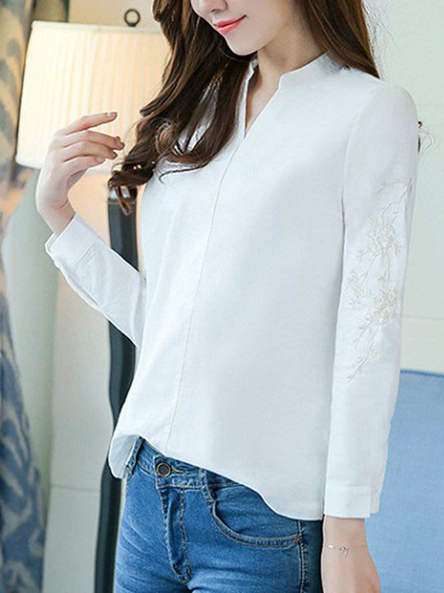 Split Neck Embroidery Plain Long Sleeve T-Shirt