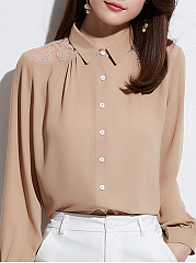 Autumn Spring  Women  Decorative Lace Single Breasted  Plain  Long Sleeve Blouses