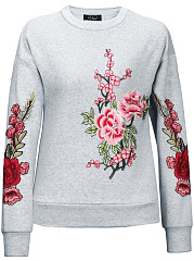 Crew Neck Embroidery Patch Sweatshirt