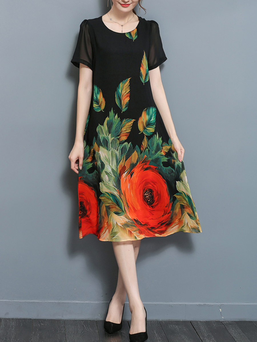 Colorful Floral Leaf Printed Round Neck Chiffon Maxi Dress