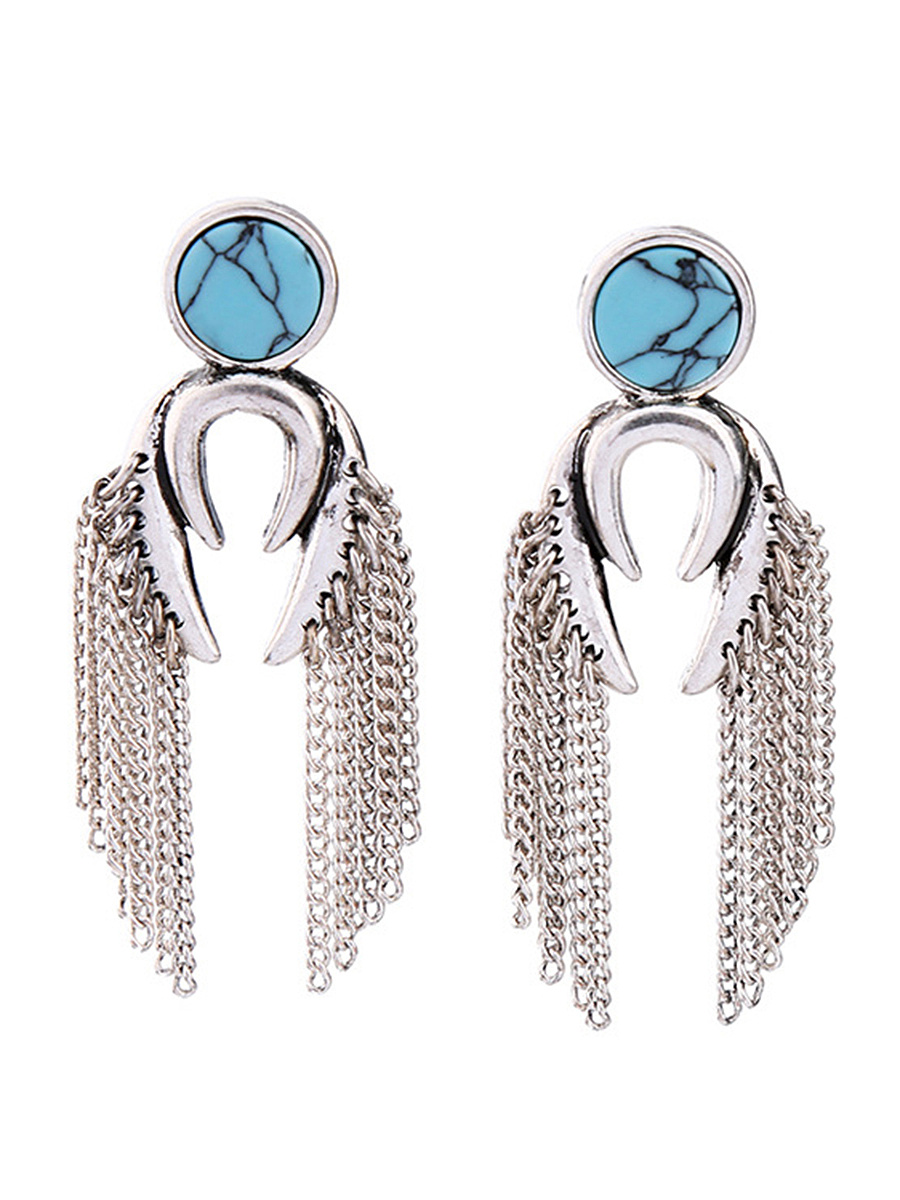Chain Fringe Imitation Stone Drop Earrings