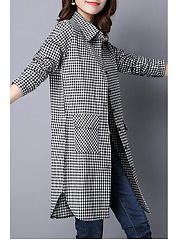 Turn Down Collar  Single Breasted  Plaid  Long Sleeve Trench Coats