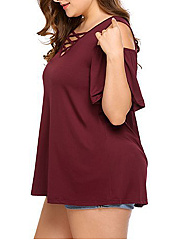 Lace-Up  Plain  Short Sleeve Plus Size T-Shirts