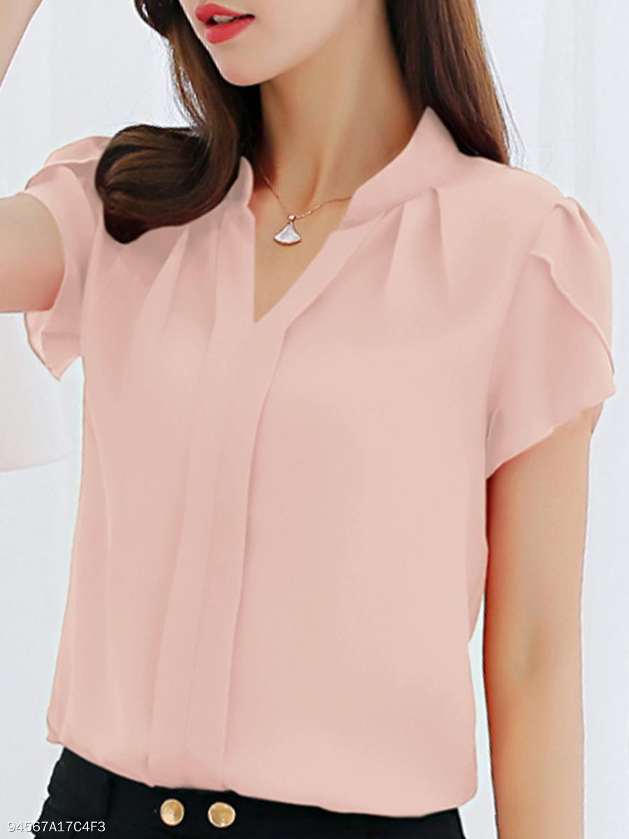 f9f8c710bea Summer Polyester Women V-Neck Plain Short Sleeve Blouses. Summer ...
