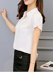 Summer  Polyester  Women  V-Neck  Plain  Short Sleeve Blouses