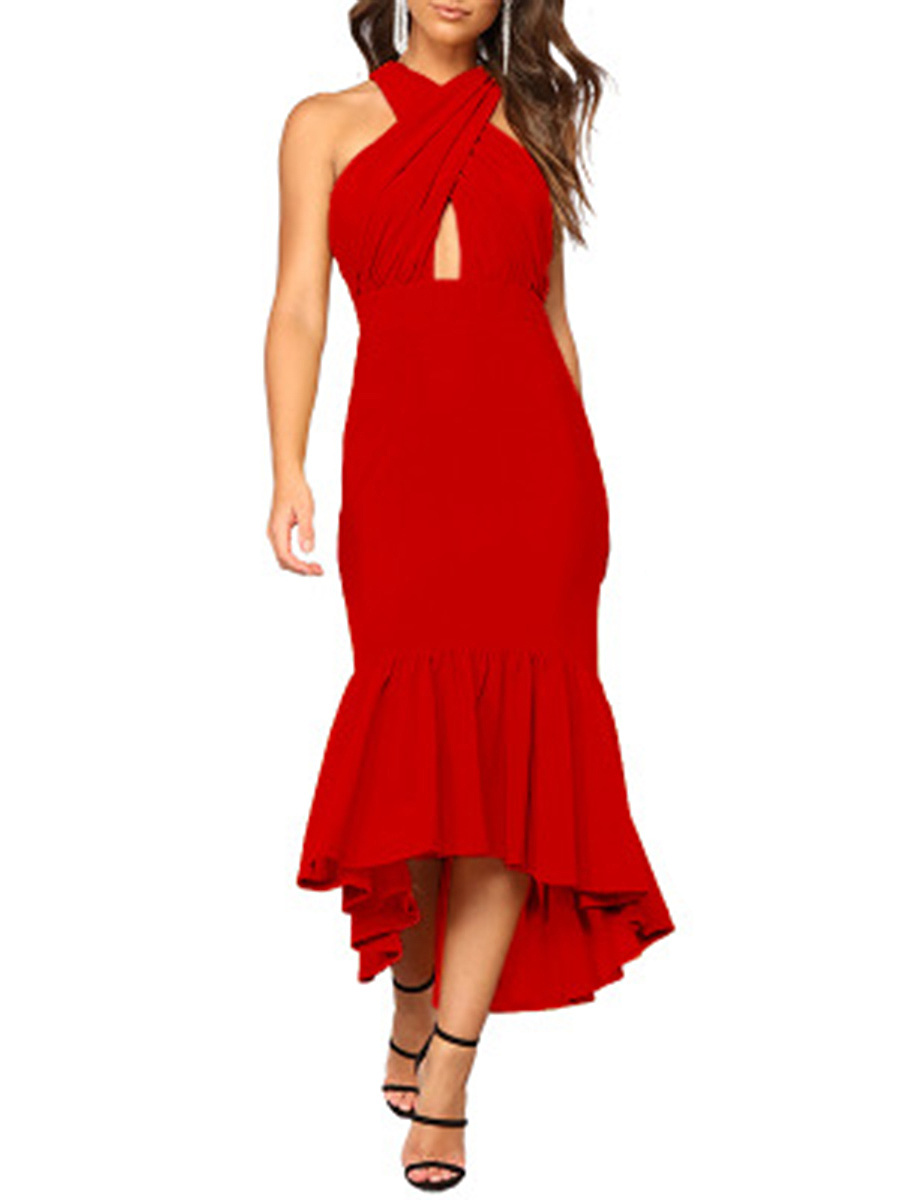 Asymmetric Neck  Plain Maxi Dress
