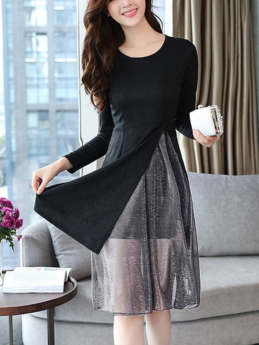 Round Neck  Side Slit  Plain  Polyester Maxi Dress