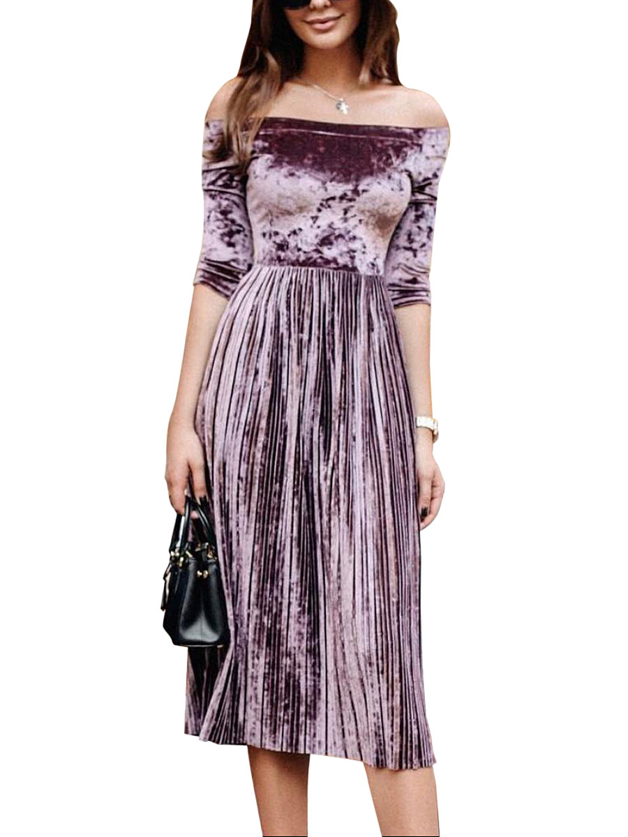 Off Shoulder Plain Velvet Maxi Dress