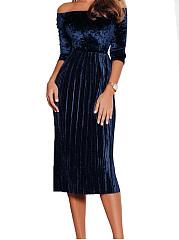 ... Off Shoulder Plain Velvet Maxi Dress ...
