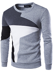 Round Neck  Color Block  Long Sleeve Men Sweatshirt