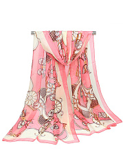 Vintage Carriage Printed Chiffon Scarf