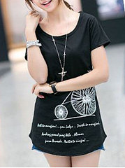Summer  Cotton  Women  Round Neck  Asymmetric Hem  Printed Short Sleeve T-Shirts